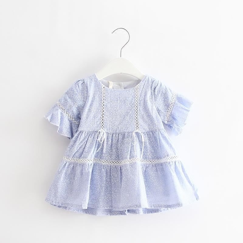 2016夏季新款韓版童裝童裙嬰幼兒女童公主裙喇叭袖純棉連衣裙