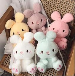 兔兔絨毛斜背包 可愛 兒童包 絨毛包包 粉色 黃色 綠色 兔子包 兔兔包 手機包 手機袋