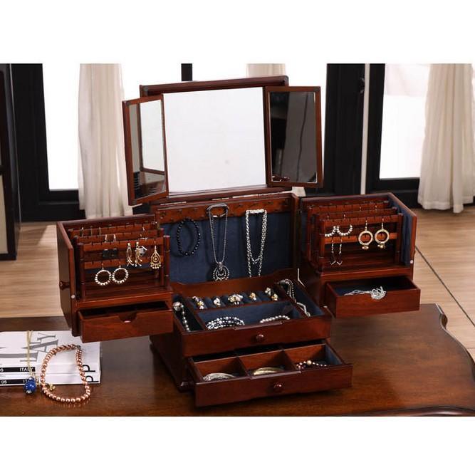 創意戒指盒首飾盒木質歐式飾品盒韓國公主耳釘耳環首飾收納盒珠寶(下單請選宅配)
