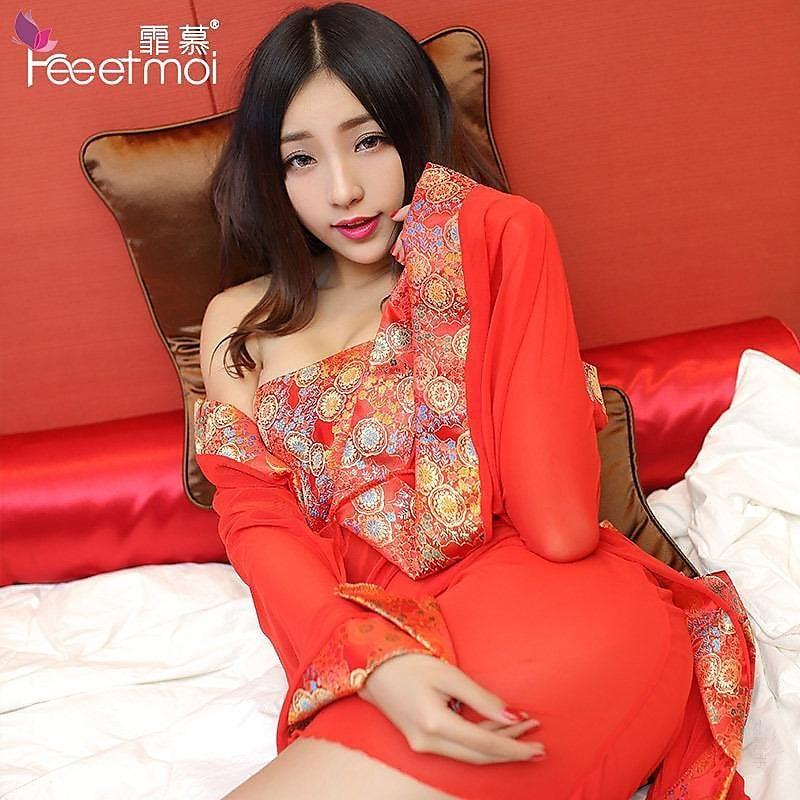 318百貨-情趣內衣網紗裹胸古裝新娘性感睡裙和服制服誘惑睡袍套裝7971