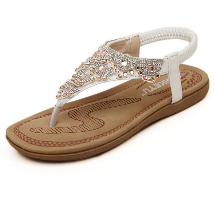 新款甜美羅馬涼鞋 波西米亞夾趾大碼沙灘鞋z7347 一級棒Al免運 可開發票