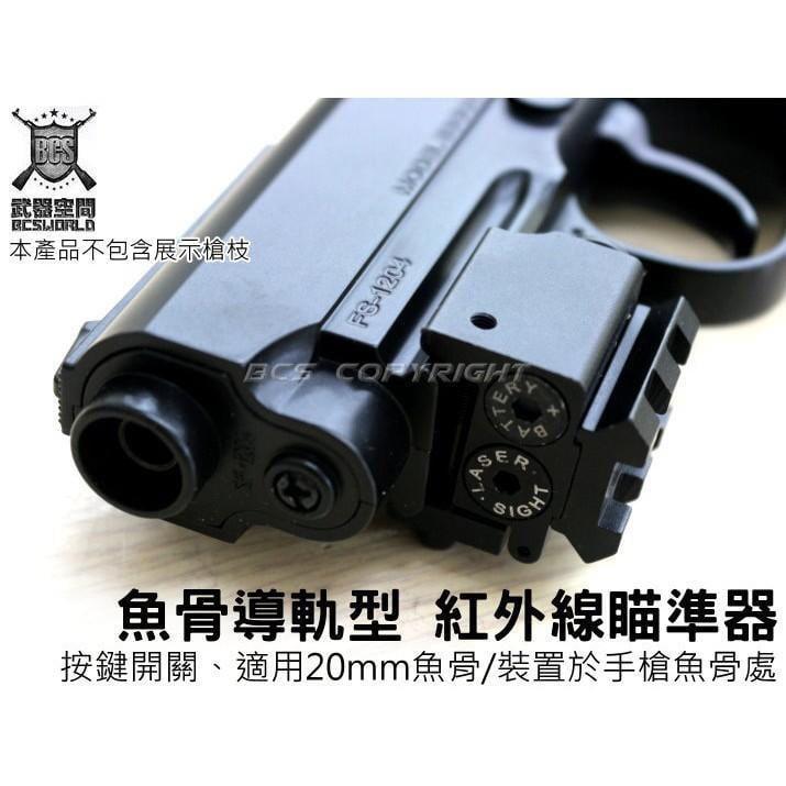 *STR* 魚骨 手槍 導軌 紅外線 瞄準器 按鍵 開關 20mm魚骨 外紅點 紅雷射 JA00901