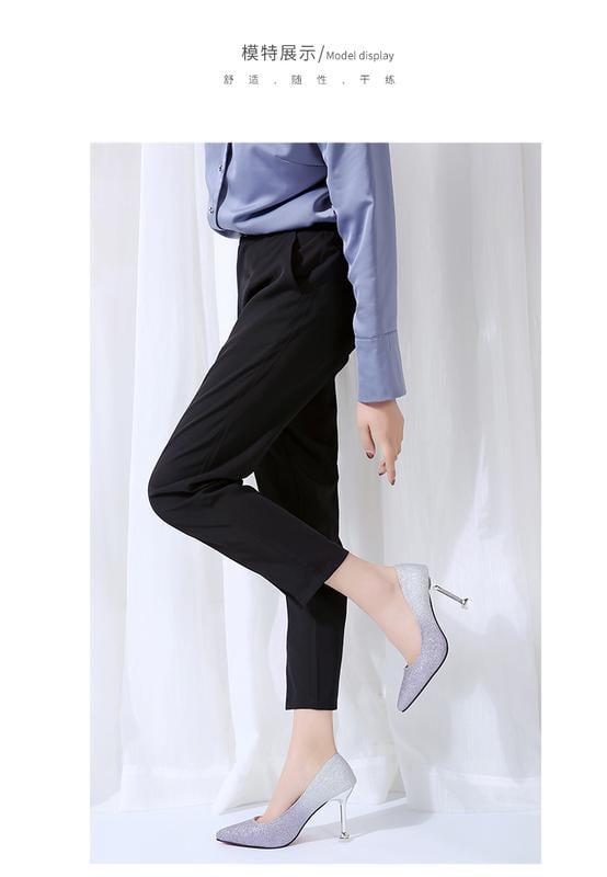 999小舖夏季韓版時尚漸變色亮片布細跟職業女高跟鞋尖頭淺口套