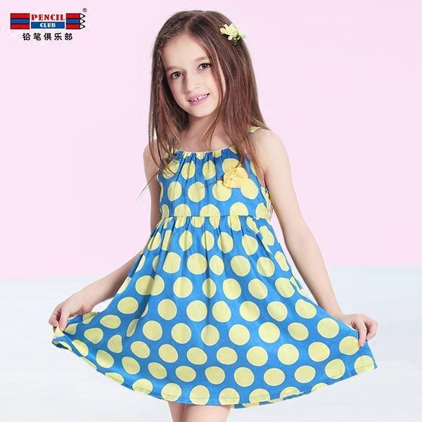 鉛筆俱樂部正品女童波點連衣裙2016夏季韓版兒童公主裙純棉吊帶裙