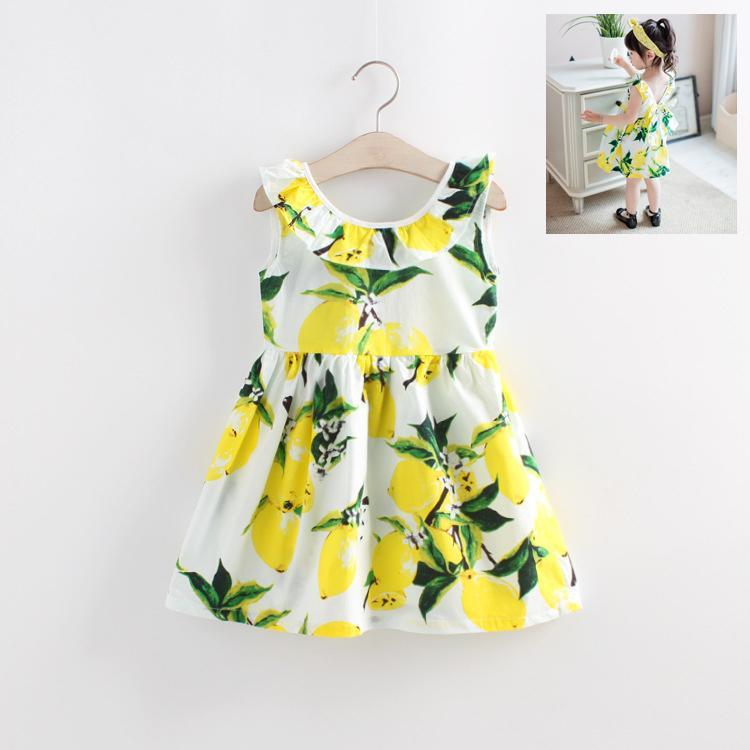 2016夏季新款檸檬女童連衣裙兒童韓版純棉無袖夏季背心裙童裝裙子
