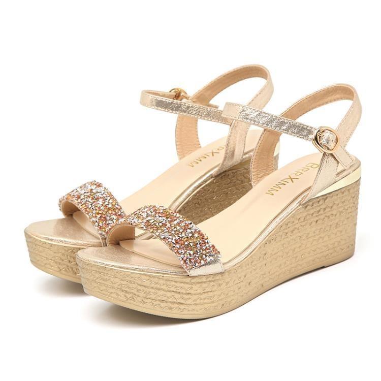 楔形鞋 女涼鞋夏季時尚女涼鞋一字式扣帶坡跟女涼鞋 一級棒Al新品 全館免運