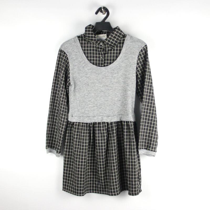 200308舊愛古著~黑色格紋灰色洋裝