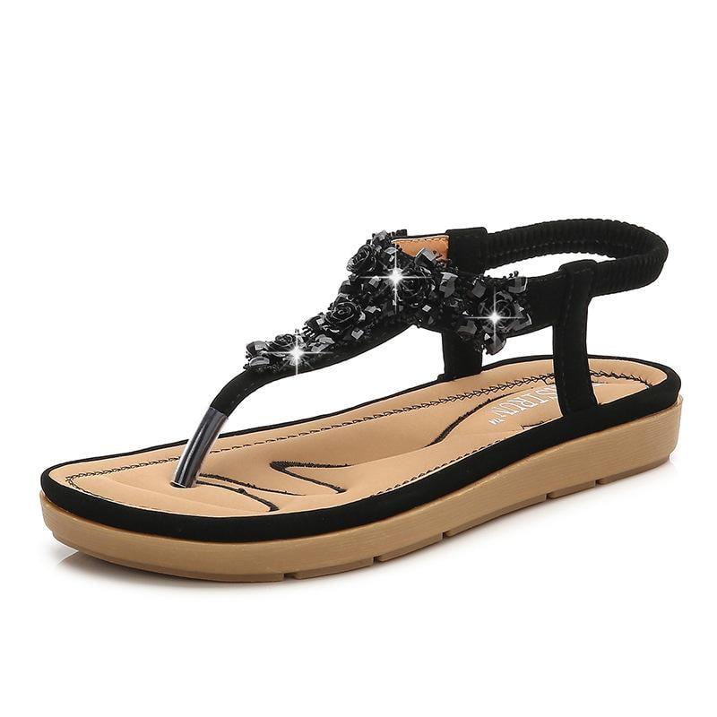 黑色/36 羅馬涼鞋 夾腳涼鞋 夏季新款涼鞋女 波西米亞坡跟舒適女涼鞋韓版女鞋子C0641 一級棒Al免運 可開發票