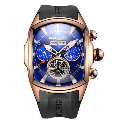 【KYH流行之星】Reef Tige瑞夫泰格/ RT潮流男機械表潮酷個性手錶橡膠錶帶強夜光髮型師男錶RGA3