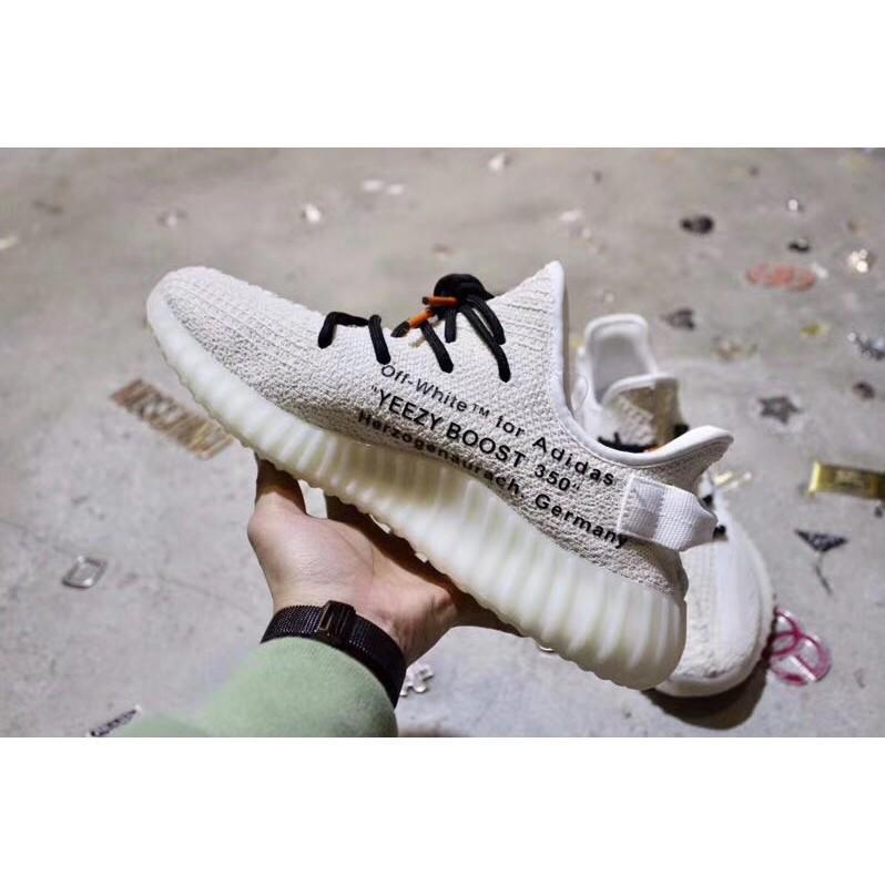 adidas愛迪達巴斯夫爆米花底 abloh off white x yeezy 350v2奶油白聯名款 男女鞋 慢跑鞋