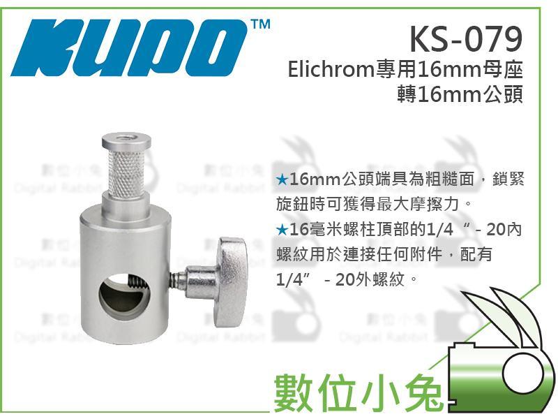 數位小兔【KUPO KS-079 Elichrom專用 16mm母座轉16mm公頭】轉接頭 支架 C型夾 燈架 攝影棚