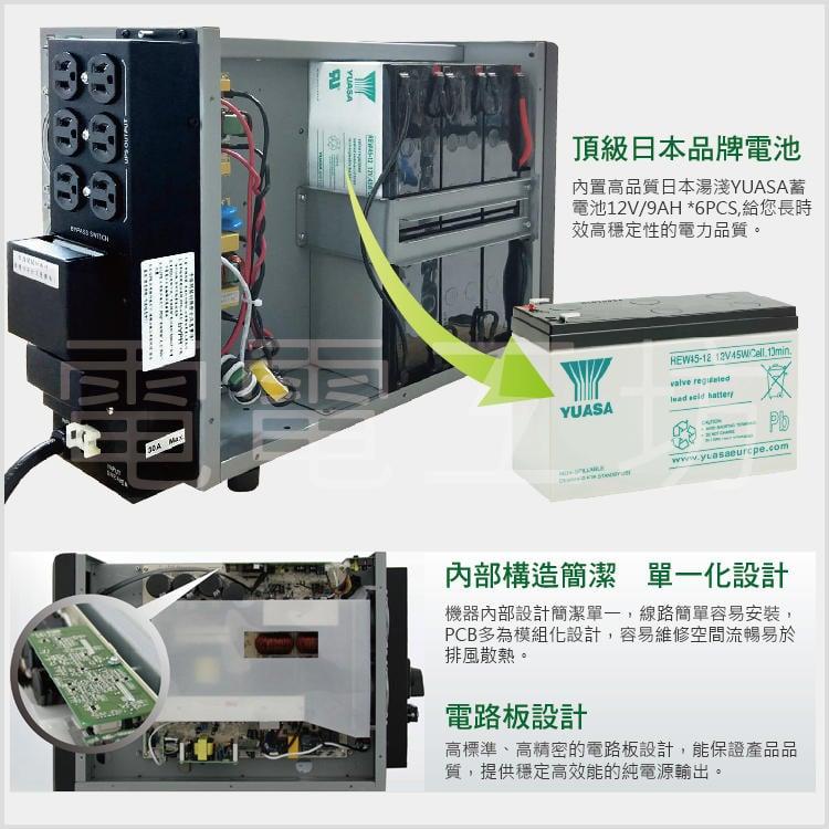 電電工坊-愛迪歐 3KVA IDEAL-9303 ON-LINE 在線式 正旋波 不斷電系統 (台灣製造) 原廠標準機