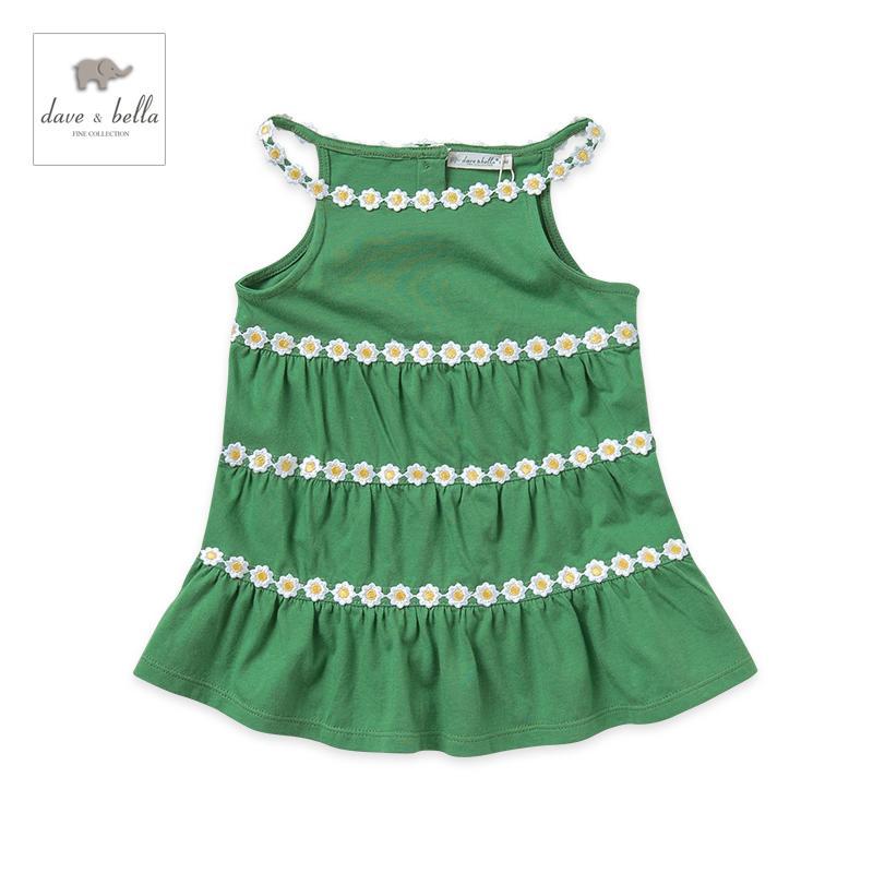 戴維貝拉夏季女童裝純棉繡花吊帶百褶連衣裙1-5歲2572