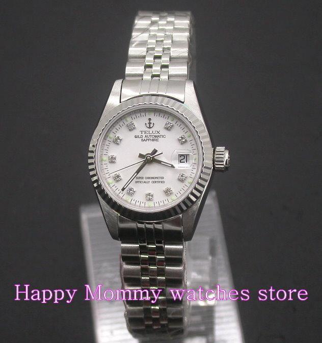 【 幸福媽咪 】網路購物、門市服務TELUX 鐵力士 瑞士ETA機芯,自動手動上鍊機械錶-白SW9526W