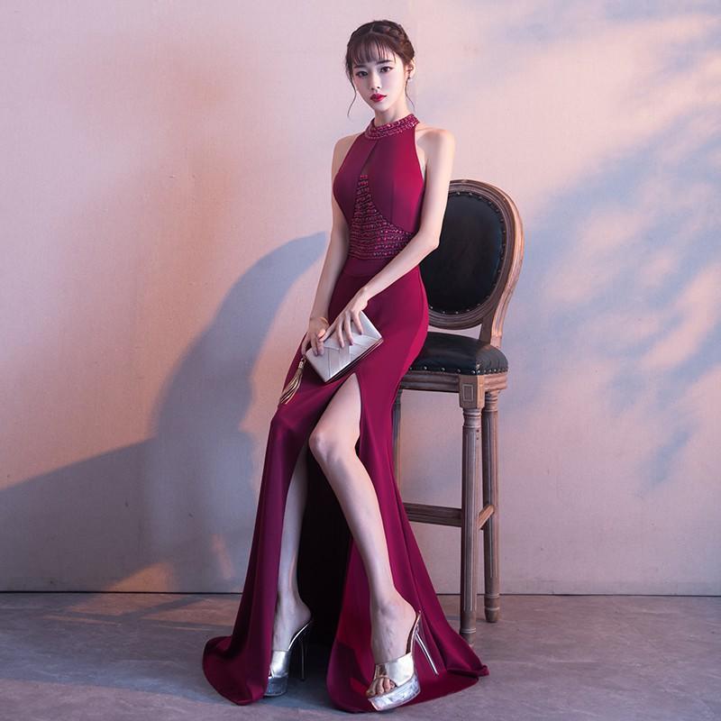 冬季晚禮服女2017新款優雅紅色宴會主持人性感魚尾敬酒服修身長款