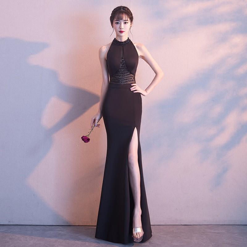 黑色晚禮服裙2017新款冬季時尚宴會名媛主持人女端莊大氣性感長款