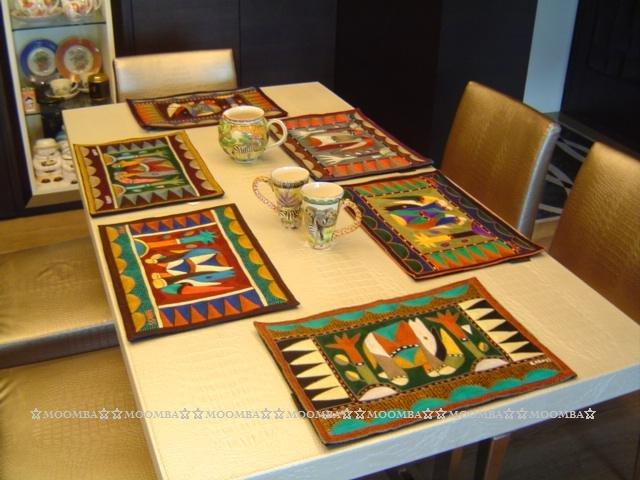☆MOOMBA☆ South Africa 南非 KAROSS 品牌 手工 繡花 動物 花卉 刺繡 厚 布質 餐墊 HAND EMBROIDER PADDED PLACEMATS #760