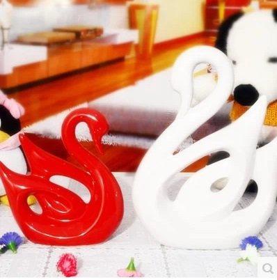 現代時尚裝飾品家居擺設白紅情侶陶瓷器天鵝一對 簡約工藝品擺件