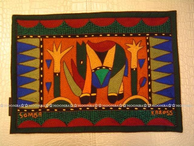 ☆MOOMBA☆ South Africa 南非 KAROSS 品牌 手工 繡花 動物 花卉 刺繡 厚 布質 餐墊 HAND EMBROIDER PADDED PLACEMATS #767