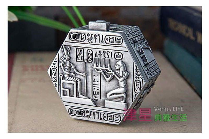 【埃及風格戒指盒法老六角盒】袖珍首飾盒 可放耳針 耳環 津星生活館