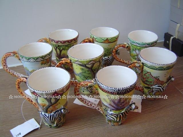 ☆MOOMBA☆ South Africa 南非 手工製 動物 長頸鹿手把 彩繪 陶杯 - 斑馬 INTU-ART COFFEE MUGS GIRAFFE HANDLE #452