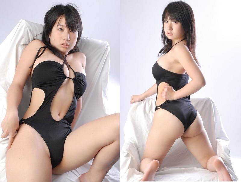 性感魚~黑色低胸中空繞頸綁帶情趣泳裝 (R112B)