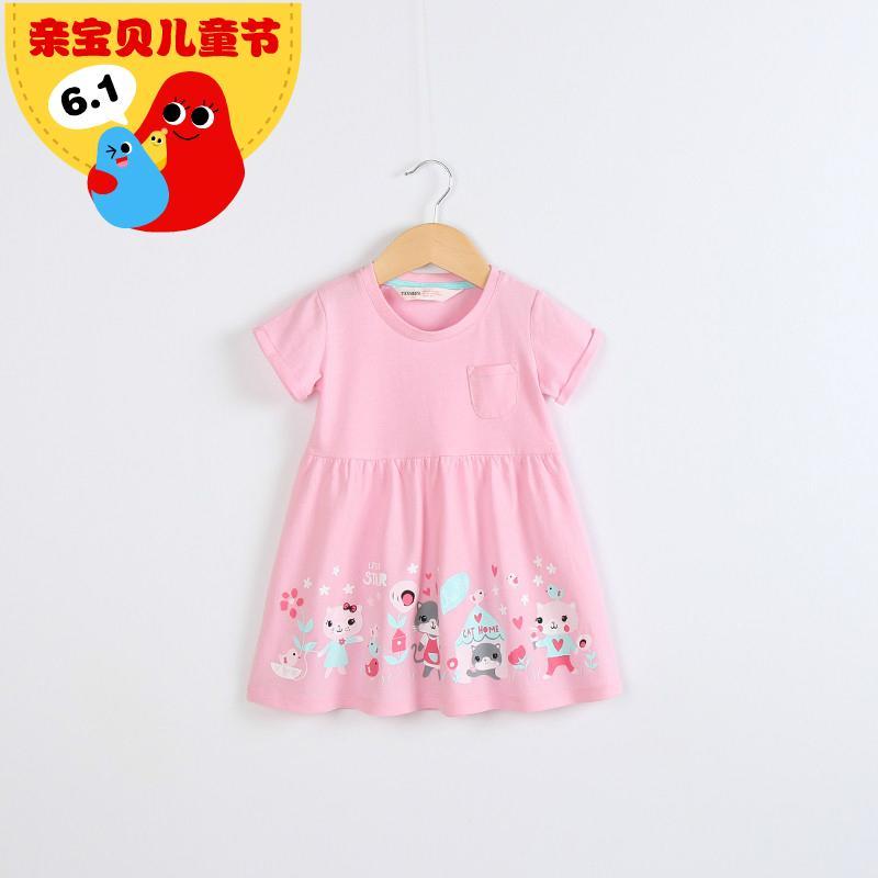童裝2016夏季新款女童純棉連衣裙韓版寶寶短袖裙子女孩粉紅公主裙