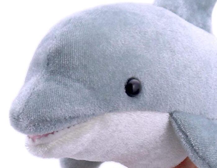 14125c 日本進口 限量品 好品質 海豚魚類魚兒 海洋動物手指手上玩偶絨毛娃娃毛絨絨表演玩偶收藏品擺飾禮物