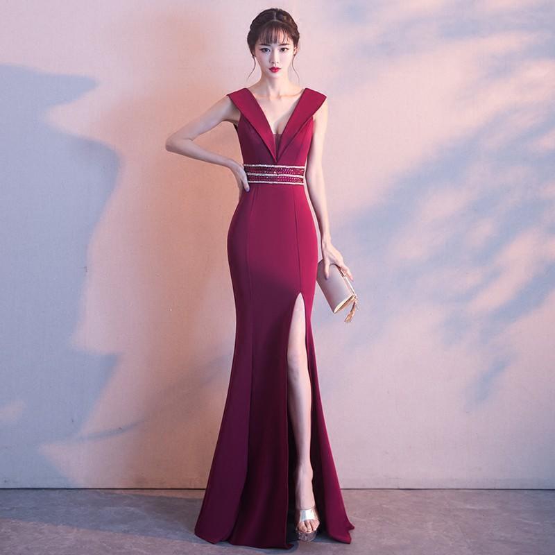 晚禮服女2017新款宴會主持人性感V領公司年會紅色敬酒服魚尾長款