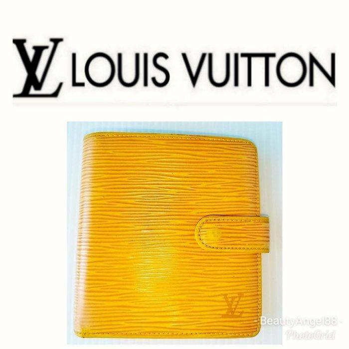 新Louise Vuitton 對摺LV 皮夾5卡零錢黃色 水波紋 短夾㊣二手真品名牌精品包  有CHANEL