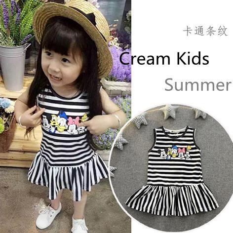 1女寶寶夏裝條紋卡通純棉連衣裙2小童3歲女童嬰兒嬰幼兒夏季裙子