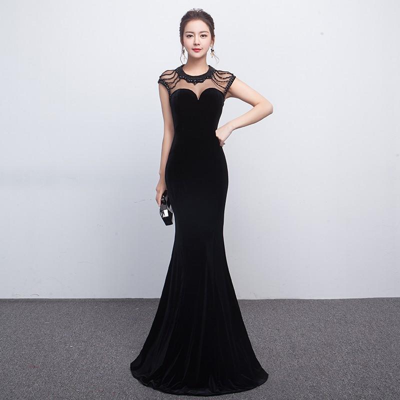 黑色晚禮服2017新款秋宴會主持人女公司年會長款性感修身顯瘦魚尾