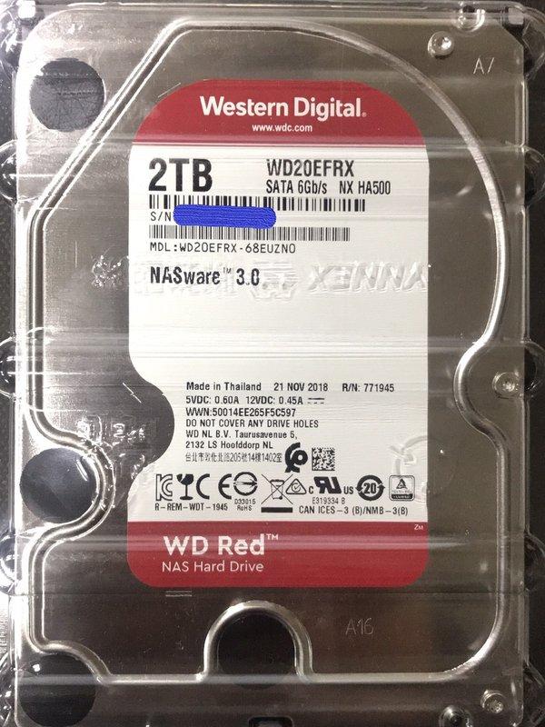 WD【紅標】2TB 3.5吋 NAS硬碟(WD20EFRX)