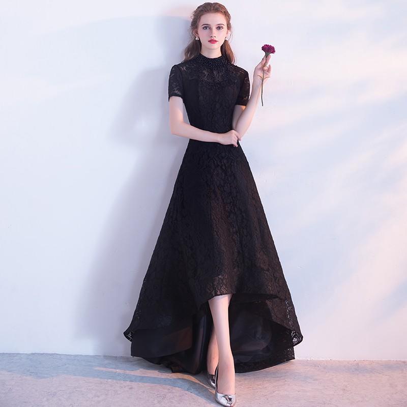 黑色晚禮服女2017新款宴會秋季優雅公主主持人前短后長款端莊大氣