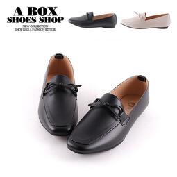 格子舖*【AW465】1CM方頭平底鞋 MIT台灣製 時尚皮革 粗跟低跟 休閒鞋 上班族 2色