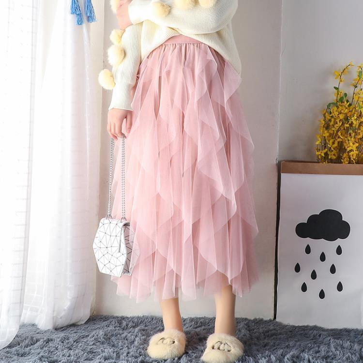 紗裙女夏網紗半身裙子蛋糕裙中長款仙女裙chic溫柔超仙