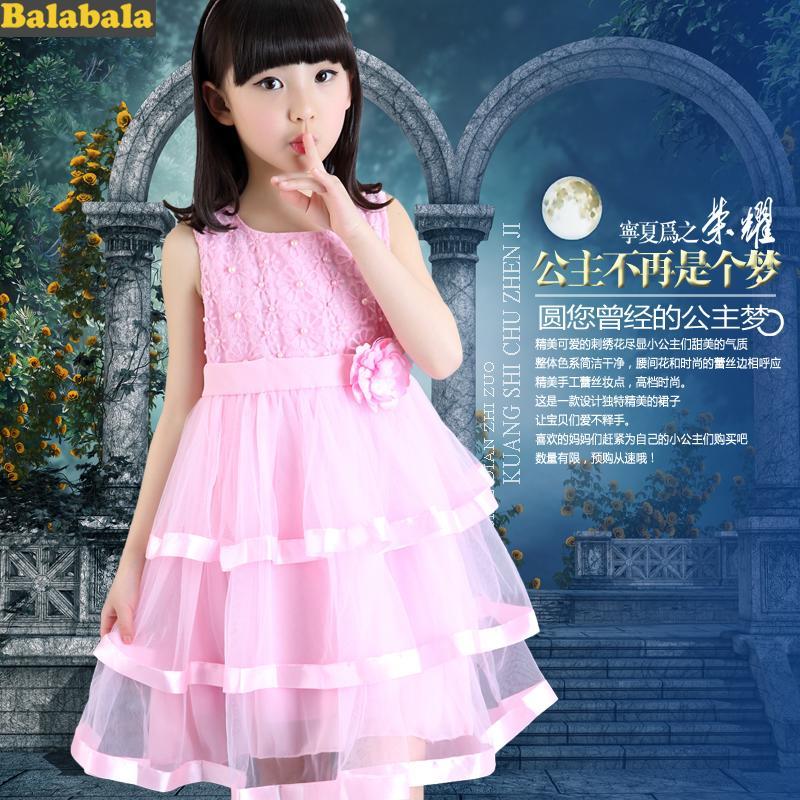 2016夏季女童連衣裙巴拉巴拉中大童短袖雪紡裙兒童公主裙純棉裙子