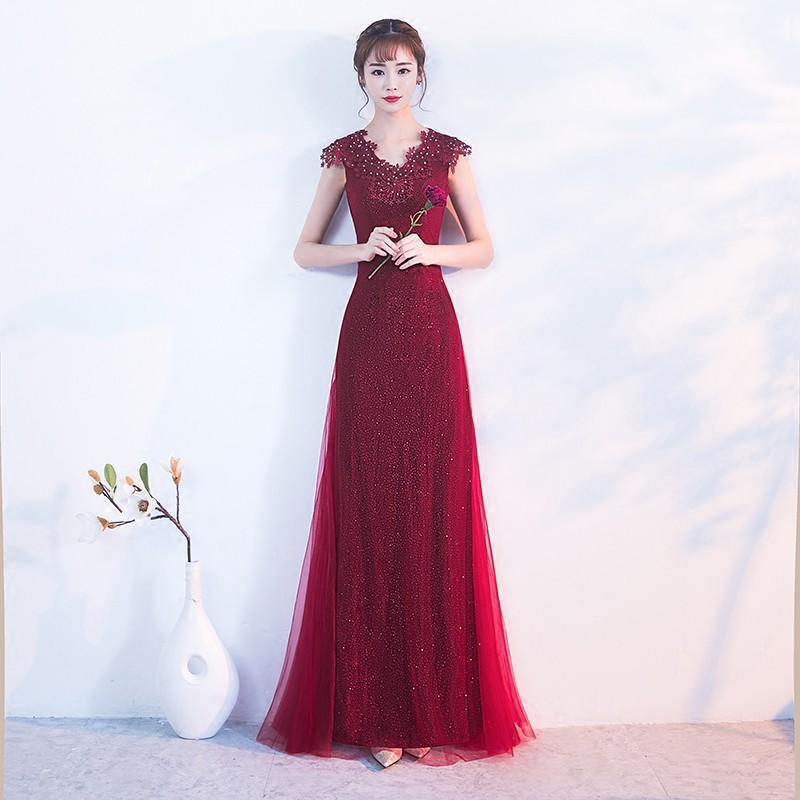 晚禮服女2017新款秋冬季宴會結婚敬酒服新娘紅色優雅端莊大氣長款