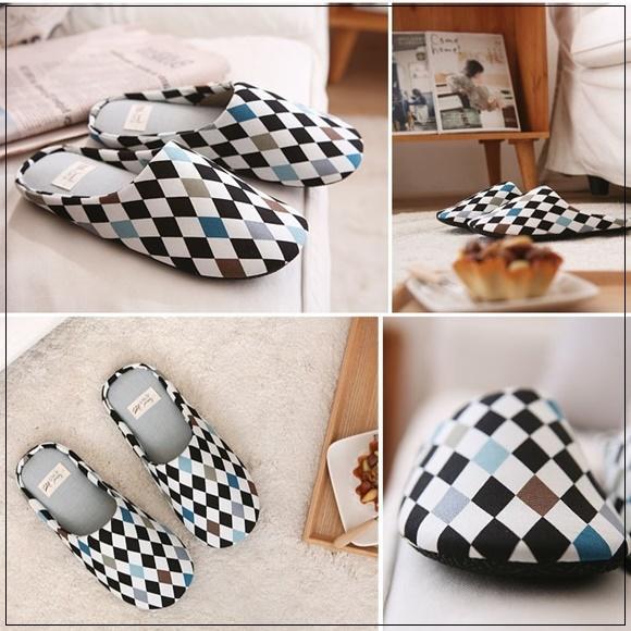 韓國妹 【cb41138】 ❤ (NEW OPEN傢飾)方格時尚簡約風格室用拖鞋❤ 2色