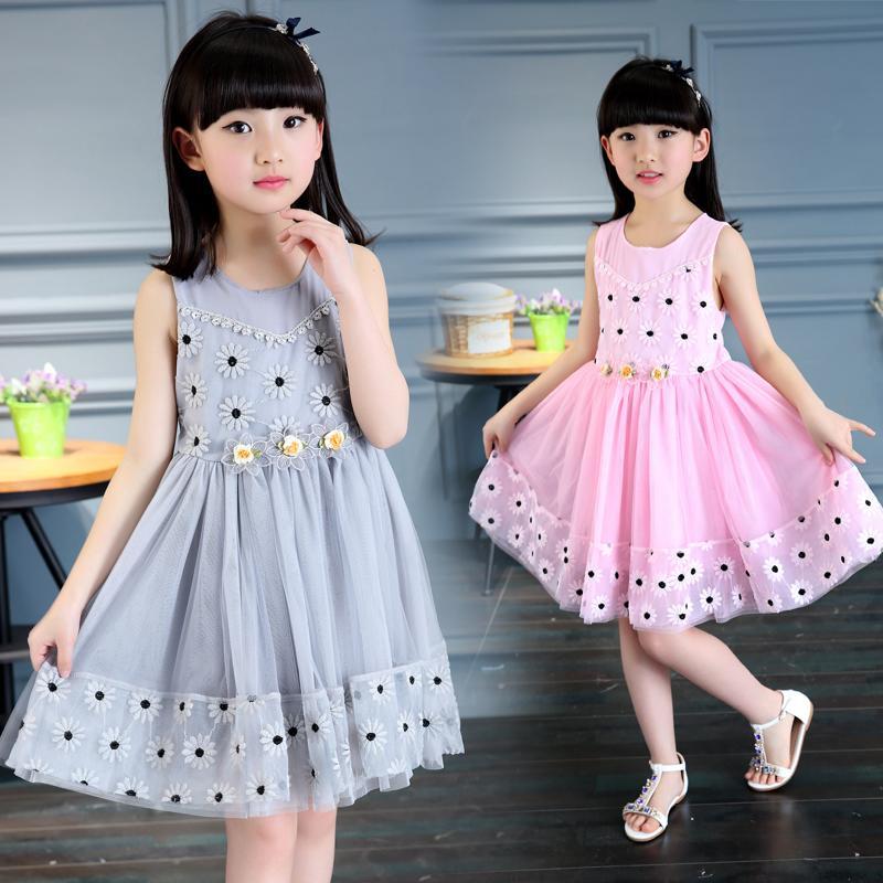 童裝夏季女童純棉連衣裙3兒童雪紡花朵裙子4中大童公主裙5-6-7歲