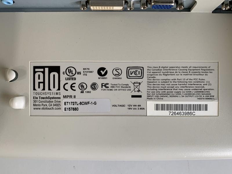 達鍇國際-新竹工業電腦 觸控螢幕 人機維修 Elo ET1727L-8CWf-1-G 畫面閃爍 無法顯示 無法觸控 破裂