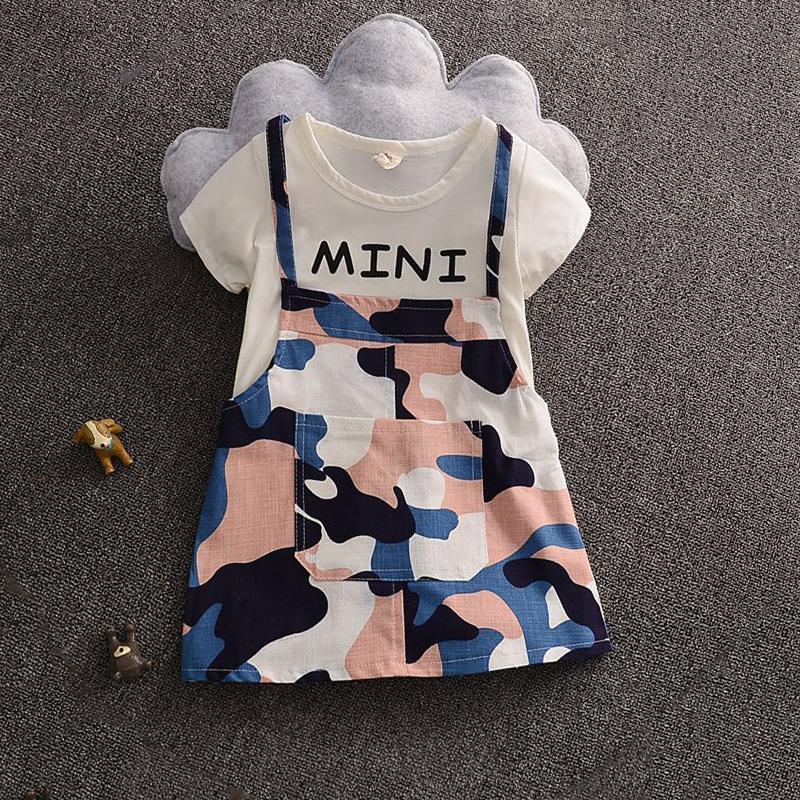 不哭兒童夏季時尚韓版休閑純棉經典迷彩假2件女童連衣裙