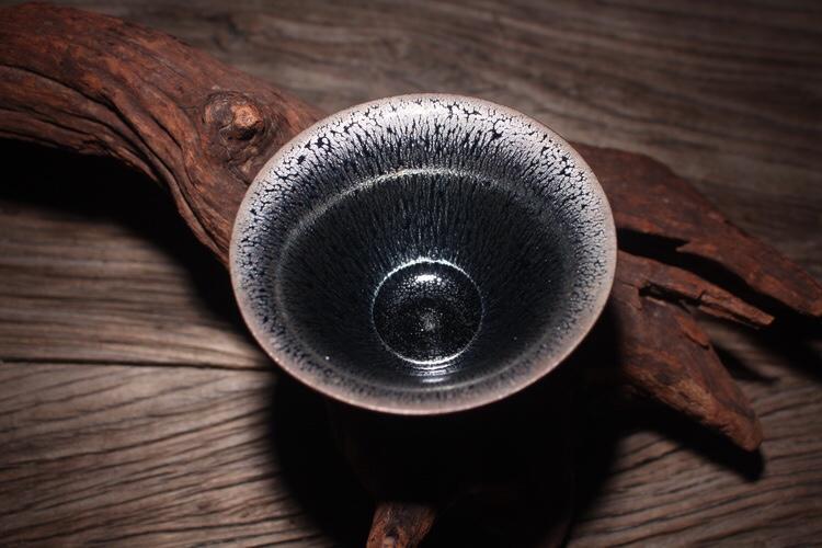 【JIC】【收藏級茶盞展】【美品】正宗建窯 李遠興 油滴茶盞(喇叭盞) 建盞 天目 盒入