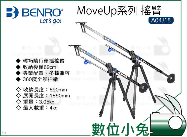 數位小兔【BENRO MoveUp系列 搖臂 A04J18】搖臂 360全景 MoveUp 輕巧 易收納
