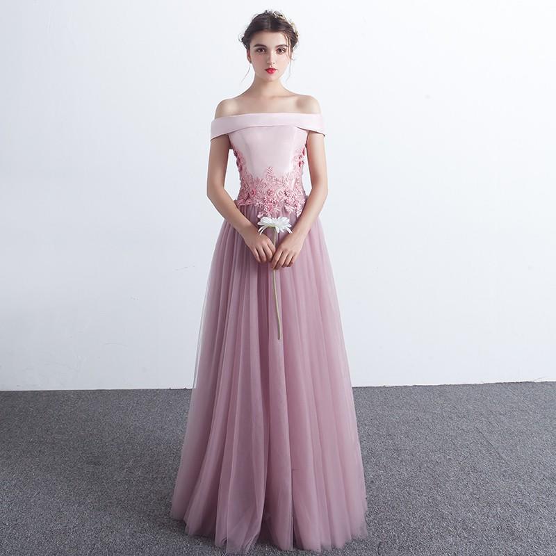 晚禮服2017新款長款時尚宴會主持人女公司年會一字肩修身顯瘦優雅