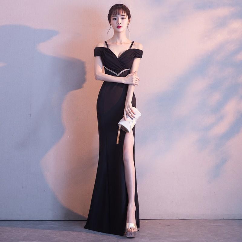 宴會晚禮服2017新款性感一字肩黑色公司年會主持人女修身顯瘦長款