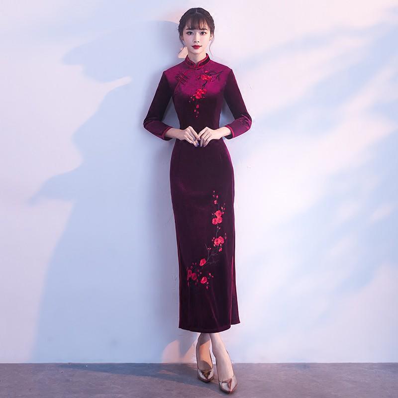 婚禮媽媽裝旗袍2017新款絲絨長袖女中年婚宴禮服中國風連衣裙長款
