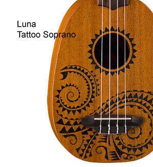 《小山烏克麗麗》美國 LUNA UKE TATTOO 21吋刺青圖騰 調音器/肩帶/樂譜 超值套組