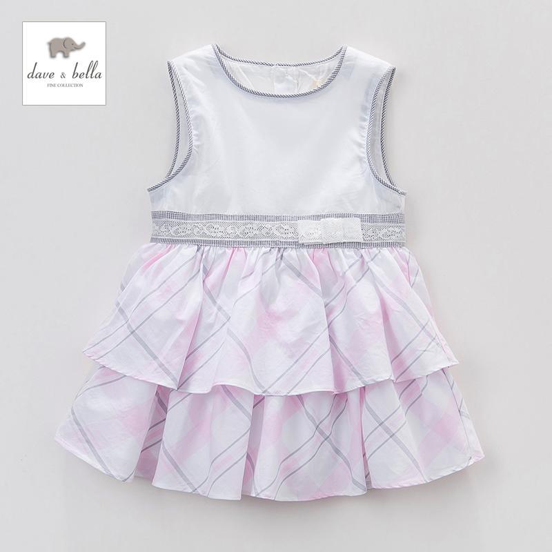 戴維貝拉夏季女童裝純棉拼接格子吊帶蛋糕裙連衣裙1-4歲