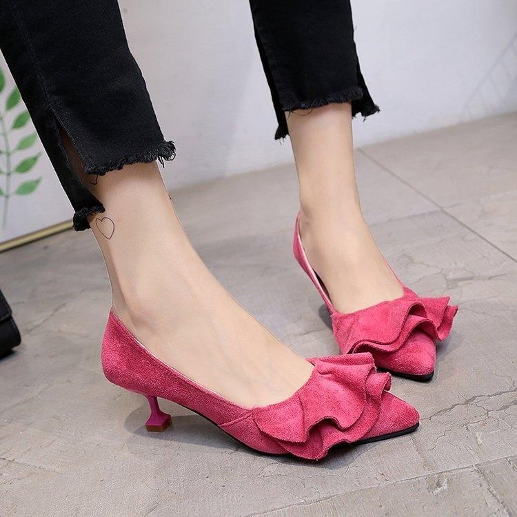999小舖甜美尖頭小跟低跟3cm貓跟春秋高跟鞋工作鞋百搭單鞋婚鞋